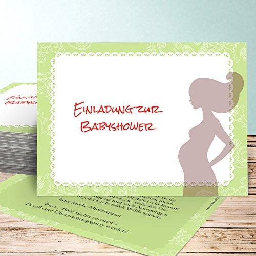 Babyparty Einladungskarte, Babytime 70 Karten, Horizontal einfach 148x105 inkl. Umschläge, Grün