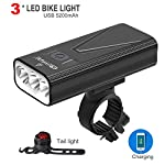 510z lV7BQL. SS150 EBUYFIRE Luci Bicicletta LED Ricaricabili USB, Super Luminoso 3000 Lumens 3 modalità,5200mAh IPX5 Impermeabile Luci Bici…
