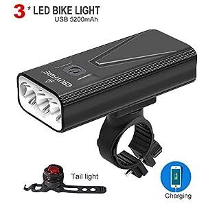 510z lV7BQL. SS300 EBUYFIRE Luci Bicicletta LED Ricaricabili USB, Super Luminoso 3000 Lumens 3 modalità,5200mAh IPX5 Impermeabile Luci Bici…