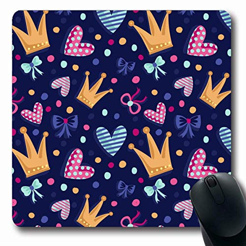 Luancrop Mousepads Tiara Rosa Muster Kronen Bögen Bänder Herzen für Mädchen Prinzessin Ballett Cute Magic Design Zeichnung rutschfeste Gaming Mouse Pad Gummi-Matte -