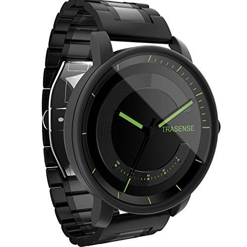 Hybrid-Smartwatch, Quarzuhr mit Mitteilungserinnerunsvibration und Aktivtätstracker mit Edelstahlband.