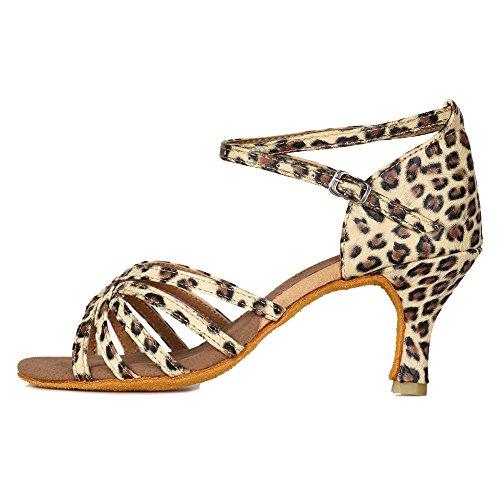 HROYL Zapatos Baile/Zapatos Latinos Leopardo satén