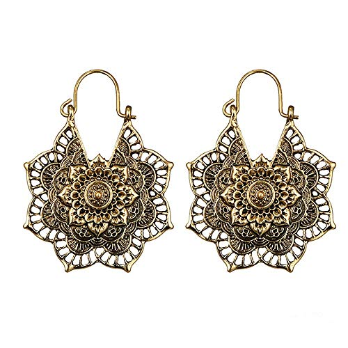 Yvelands Ohrringe Modeschmuck Antike Silberne Gypsy Indian Tribal Ethnic Hoop baumeln Mandala Ohrringe Boho - Stufenrock Nähen