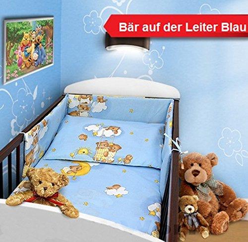 Baby Bettset 135x100 Wunderschöne Kinderbettwäsche Nestchen Bettuch Babybett NEU (2-teilig, Bär Leiter Blau)
