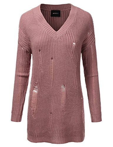Doublju Oversized Cable Knit Longline Distressed Sweater Dress For Women MAUVE SMALL (Distressed Knit)