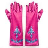 Katara - Un Paire de Gants de Déguisement pour Filles / avec Ornaments - Accessoire de Costume de Princesse Elsa - Taille Unique Adapté aux Enfants 2-9 Ans - Rose foncé