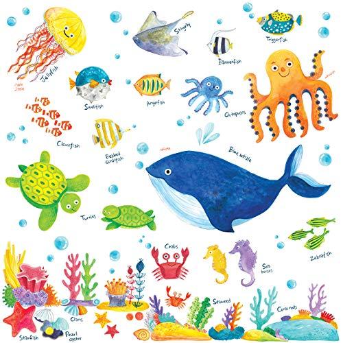 Decowall DW-1311 Unter dem Meer Meerestiere Tiere Wandtattoo Wandsticker Wandaufkleber Wanddeko für Wohnzimmer Schlafzimmer Kinderzimmer