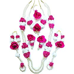 Floret Jewellery Designer Pearl Pink White Rose Flower Jewellery Set With 2 Necklaces, Earrings, Bracelets, And Maang Tika (7 Items) For Women & Girls (Mehandi/Haldi/Wedding/Bridal)