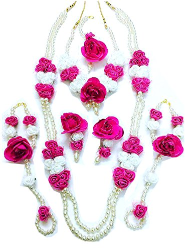 Floret Jewellery White Pink Flower Jewellery Set With 2 Necklaces, Earrings, Maang Tika & Bracelets (7 Items) For Women & Girls