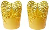 #5: Nayasa Lacy 2 Piece Plastic Tall Basket Set, Yellow