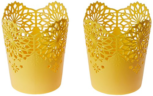 Nayasa Lacy 2 Piece Plastic Tall Basket Set, Yellow
