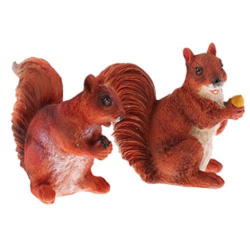 Homyl 2Stück Realistische Eichhörnchen Figur Für Home Table Garten Yard Statuen Rasen Büro DesktopDekor