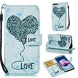 sinogoods Für Huawei P Smart/Enjoy 7S Hülle, Premium PU Leder Schutztasche Klappetui Brieftasche Handyhülle, Standfunktion Flip Wallet Case Cover - Blau