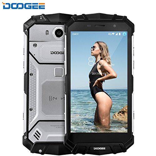 Smartphone ohne Vertrag, DOOGEE S60 Wasserdichte Outdoor Handy, Dual SIM Robustes Smartphones Android 7.0, 4G 5.2 Zoll FHD, Helio P25 Octa-core, 6G RAM+64G ROM, 8.0MP+21.0MP, 5580mAh - Silber