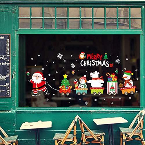 Santa Claus Zieht Den Zug Glaswand Der Weihnachten Wandaufkleber Wohnkultur Wandbilder Tapete Neujahr Aufkleber -