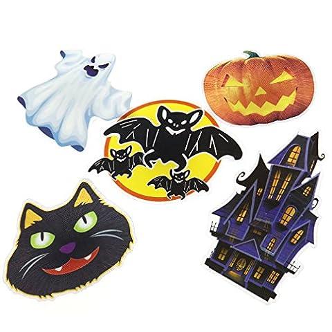 5tlg Halloween Geist Kürbis Fledermaus Katze Garten STECKER Stab LED Licht Deko (Region 10 Kostüm)