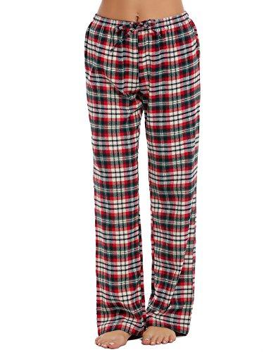 ADOME Damen Schlafanzughose Baumwolle Pyjamahose Sleep Hose Lang Rot L (Baumwolle Sleep-pant Damen)