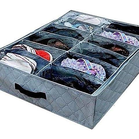 12pares Organizador para zapatos Cajas de almacenamiento de fibra de carbón de bambú