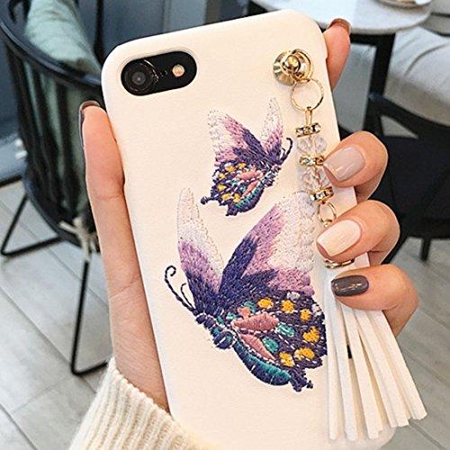 MXNET Fall für iPhone 6 u. 6s, Stickerei-Art PU-lederner schützender rückseitiger Abdeckungs-harter Fall mit Quasten-Anhänger ,Iphone 6/6s Case ( Color : White ) Pink