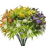 Kuenstliche Blumen, Nahuaa 4 Stück Künstlichen Grün Pflanze Gefälschte Kunststoff Morgenruhm Sträucher Draußen Tabelle Blumenarrangements Zuhause Küche Sprungfeder Deko Mehrfarbig