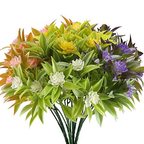 Kuenstliche Blumen, Nahuaa 4 Stück Künstlichen Grün Pflanze Gefälschte Kunststoff Morgenruhm Sträucher Draußen Tabelle Blumenarrangements Zuhause Küche Sprungfeder Deko