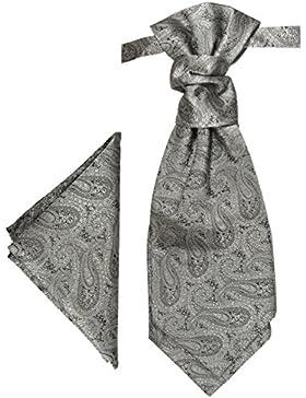 Paul Malone Cravattone Plastron Cravatta Sposo da Cerimonia + Fazzoletto paisley grigio argento
