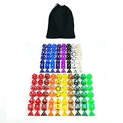 Bescon Multi-Colored RPG Dice Pack of 126 Polyhedral Dice 18 Complete Sets of 7 Dice 18 Different Colors - Black Velvet Bag Packaging by Bescon Dice