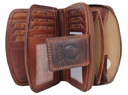 Geldbörse Damen Leder mit RFID Schutz kompaktes Portemonnaie Portmonee vintage Geldbeutel Kreditkartenetui lang mit Reißverschluss in Geschenk-box Organizer Echt-Leder braun Corno d´Oro 23007