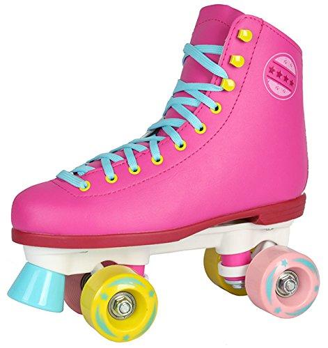 Kinder Rollschuhe NEU 34 35 36 37 38 39 40 Pink weiß schwarz Discoroller Disco Damen (Pink, 36)