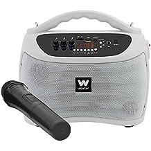 Woxter ROCK'N'GO WHITE, Altavoces portátiles de 40 W (USB, Bluetooth, tarjeta de Memoria , Función Karaoke, 1 micrófono inalámbrico incluido), color blanco