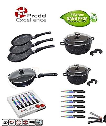 Pradel Excellence - Batterie de cuisine 15 pièces - 3 Poêles - 2 faitouts - 1 sauteuse - 6 couteaux Acier inoxydable
