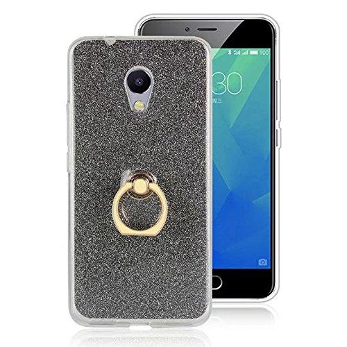 EKINHUI Case Cover Soft Flexible TPU Back Cover Case Shockproof Schutzhülle mit Bling Glitter Sparkles und Kickstand für Meizu Meilan 5S M5s ( Color : Gold ) Black