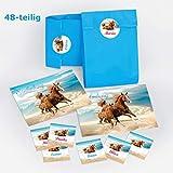 JuNa-Experten 12 Einladungskarten Kindergeburtstag Mädchen Pferde incl. 12 Umschläge, 12 Tüten, 12 Aufkleber / Geburtstag / Fohlen / Zwei Pferde
