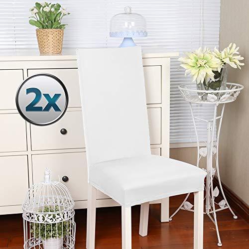 Stuhlhussen 2 Stück, Stretch-Stuhlbezug elastische moderne Husse Elasthan Stretchhusse Stuhlbezug Stuhlüberzug . bi-elastic Spannbezug, sehr pflegeleicht und langlebig Universal -(2 Stück, Weiß) -J