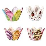 Ecloud Shop 75X Papier Muffinförmchen Backförmchen Cupcake Blumen CHARM