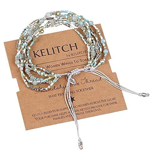 KELITCH Moitié Bleu Cristal Perles de Rocaille Cluster Multi-strand Bracelet Corde - Vert