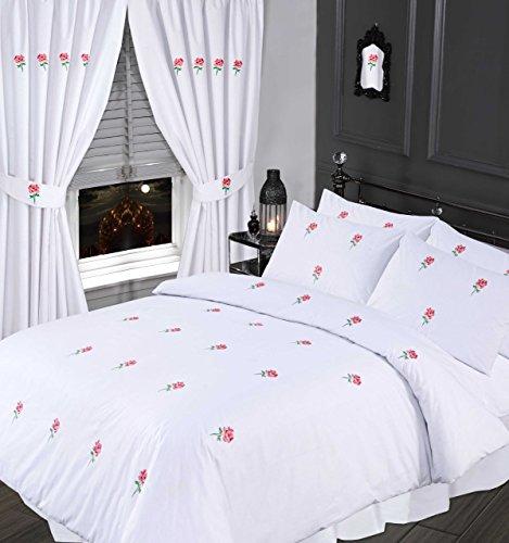 Goldmith Crewe & Co Bettwäsche-Set für Super-King-Size-Bett, bestickt mit Rosenblüten, Weiß/Grün -