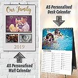 12mois de murale/calendrier de bureau personnalisé avec votre Texte et photos | n'importe quel AN-20192020. | Format A5...