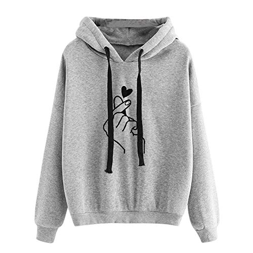 Dorical Frauen Kleidung Casual Love Notes Langarm Hoodie Sweatshirt mit Kapuze Pullover Tops Bluse Abstand