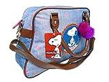 New ladies Snoopy Peanuts Retro Bowler Bowling Bag Light Blue Handbag Holdall
