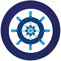 Möbelknopf Möbelgriff Möbelknauf Jungen hellblau dunkelblau blau Massivholz Buche - Kinder Kinderzimmer Steuerrrad blau dunkelblau maritim -