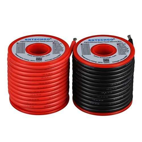 BNTECHGO 12 Gauge Silicone Wire Spool 50 feet Ultra Flexible High Temp 200 deg C 600V 12 AWG Silicone Wire 680 Strands of Tinned Copper Wire 25 ft Black and 25 ft Red Stranded Wire for Model Battery Awg 50 Spool