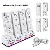 Wii Fernbedienung Ladegerät Set,TechKen Wii Spiele Wii Remote Controller Ladestation Docking...