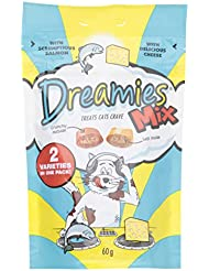 Dreamies Mix Cat Treats with Scrumptious Salmon and Delicious Cheese, 60 g