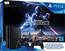 PlayStation 4 - Konsole (1TB, schwarz, slim) inkl. StarWars Battlefront II + 2 DualShock Controller