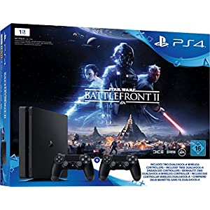 PlayStation 4 – Konsole (1TB, schwarz, slim) inkl. StarWars Battlefront II + 2 DualShock Controller