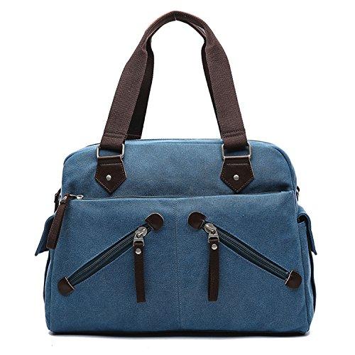 MeCooler Schultertasche Vintage Messenger Bag Umhängetasche Herren Kuriertasche Schule Taschen Retro Herrentaschen Aktentasche für Laptop Sport Tablet Blau