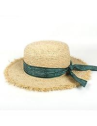 GR Para mujeres Gilrs Letter Streamer Gorras de playa de ala ancha Gorra de  verano plana 2018 Sombreros de paja de mujer Gorra de Panamá… 722b2ef6e20