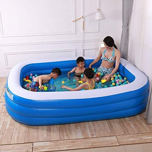 YAWJ Erwachsenes Aufblasbares Swimmingpool, Das Das Rechteckige Super Große Poolspielwaren des Spielpools Der Kinder Im Freien (Color : Blue, Size : 180 * 140 * 60 cm) -