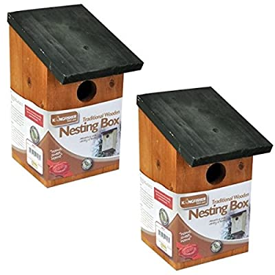 2 X Wooden Nesting Nest Box Bird House Small Birds Blue Tit Robin Sparrow by Garden Mile®